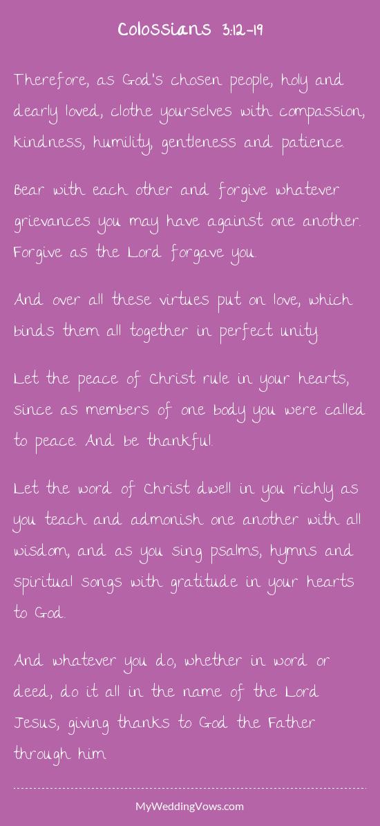 Wedding Sermon Colossians 3 12 17 Tbrb Info