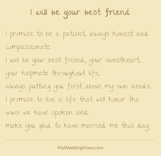 Best Wedding Vows.I Will Be Your Best Friend