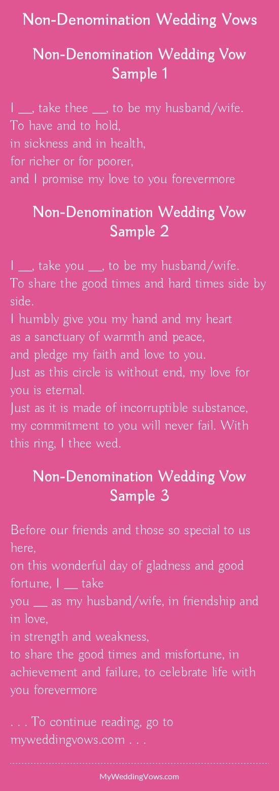 Non denomination wedding vows junglespirit Image collections